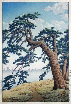 hanga gallery . . . torii gallery: Foggy Morning, Yotsuya Mitsuke by Kawase Hasui,   1932