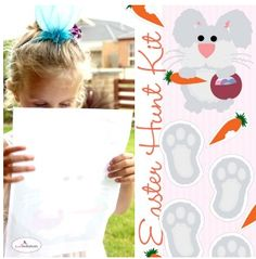 Easter bunny foot prints and carrot bits to lead kids to their basket. Perfect for little kids.