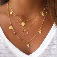 EG _ Damen Modeschmuck Choker mehrschichtig Boho Gold Blatt Anhänger Halskette | Uhren & Schmuck, Modeschmuck, Halsketten & Anhänger | eBay!