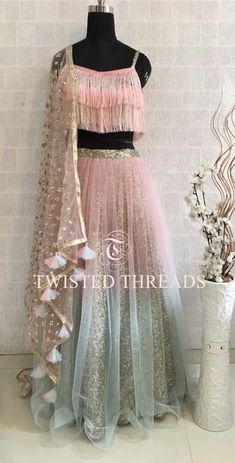 Pink Ombre Lehenga with tassels on dupatta. By Twisted Threads Indian Wedding Outfits, Bridal Outfits, Indian Outfits, Bridal Dresses, Indian Lehenga, Blue Lehenga, Lehenga Choli, Saree, Lehenga Designs