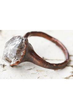 Stone Ring: quartz ring, raw gemstone crystal rings, diamond shaped ring