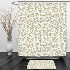 camping theme christmas ornaments - Vipsung Shower Curtain And Ground MatGold Cottage Decor Paisley Floral Damask French Vintage Ornament Theme SetShower Curtain Set with Bath Mats Rugs >>> Click image for more details. (This is an affiliate link) #CampingIdeas