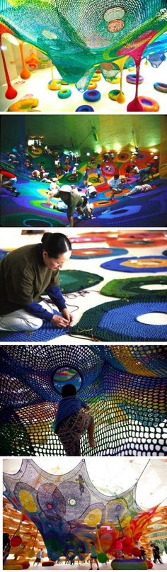 Japanese-born fiber artist Toshiko Horiuchi MacAdam's crocheted fabulous playgrounds for children - best yarn bomb ever! Modern Art, Contemporary Art, Instalation Art, Yarn Bombing, Wow Art, Art Plastique, Public Art, Oeuvre D'art, Textile Art