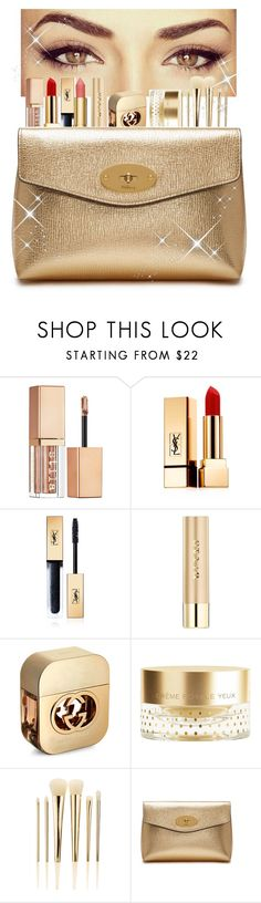 """""""GOLD MAKEUP SET"""" by samahdasan ❤ liked on Polyvore featuring beauty, ALDO, Stila, Yves Saint Laurent, Gucci, Orlane, Sephora Collection and Mulberry"""