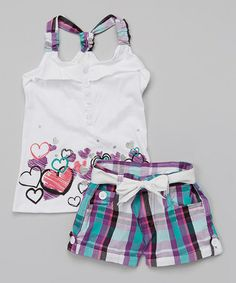 Another great find on Longstreet White Heart Tank & Plaid Belted Shorts - Girls by Longstreet Cute Girl Outfits, Baby Girl Dresses, Toddler Outfits, Kids Outfits, Casual Outfits, Teen Girl Fashion, Little Girl Fashion, Kids Fashion, Short Fille