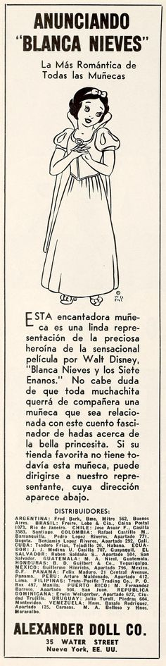 """Trade ad for BLANCA NIEVES doll. """"Cine-Mundial,"""" March, 1938."""