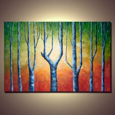 Birch Tree Painting. Abstract Contemporary Landscape by colorblast, $259.00