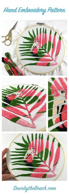 Easy and beautiful hand embroidery pattern for DIY home decor. Pink flamingo hand embroidery pattern. PDF file