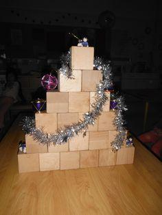 bouwen met Bas de Bouwbeer. Een kubus in het midden, 5 kinderen halen een blok en zetetn die op instructie links en rechts van de kubus. Daarna terug tellen vanaf zes steeds 1 minder. Bas vertelt hoe je de boom stevig maakt. steeds een blok op de streepjes.