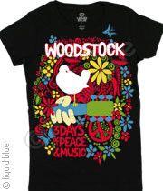 Woodstock Aquarian Exposition Black Long Length T-Shirt