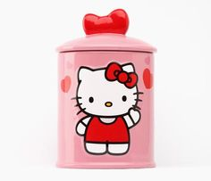 Hello Kitty Cylinder Ceramic Cookie Jar.. would love this for the kitchen <3