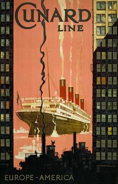 Aquitania, Cunard Line. Europe-America, Kenneth D. Shoesmith (1890-1939), published by Thos. Forman & Sons, England, 1929, colored advertising poster
