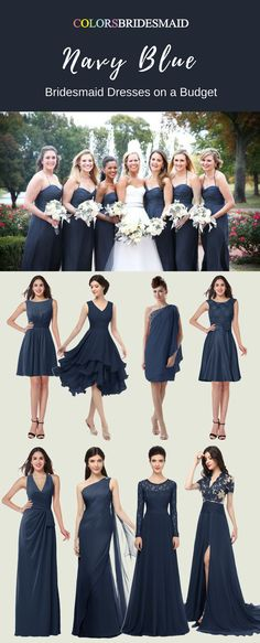 These short and long bridesmaid dresses in navy blue color are great for a fall wedding. They are mostly sold under $100. These cheap bridesmaid dresses will make you on a budget. All sizes are custom made!