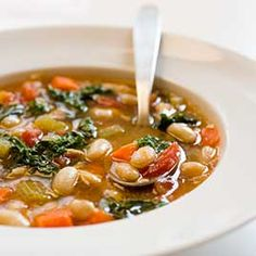 Tuscan Bean Soup by ATK (Brine 1lb/2cups beans at room temperature for 8-24 hours in solution of 3 tablespoons table salt + 4 quarts water. Rinse and sub-simmer 75-90 minutes in clean water.)