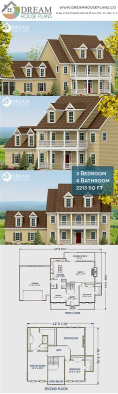 house plan with cust. - House Plans, Home Plan Designs, Floor Plans and Blueprints Open Floor House Plans, Porch House Plans, Colonial House Plans, Simple House Plans, House Plans 3 Bedroom, Southern House Plans, Traditional House Plans, New House Plans, Dream House Plans