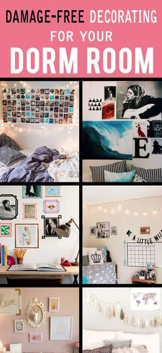 How To Decorate Your Dorm Walls Without Causing Damage. How To Decorate Your Dorm Walls Without Causing Damage. Decorating your dorm walls is so fun! To keep your wall damage free, use these dorm wall decor tips for cute dorm room decorations and ideas! Dorm Room Walls, Uni Room, Cute Dorm Rooms, College Dorm Rooms, College Closet, College Apartments, Rooms Ideas, Bedroom Ideas, Dorm Organization
