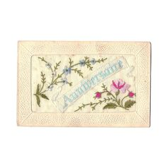 French Embroidered and Lace Postcard Happy by LaBelleEpoqueDeco
