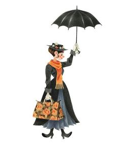 Mary Poppins and her umbrella