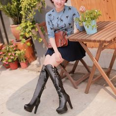 Korean Fashion Leather Strap High-Heeled High Boots