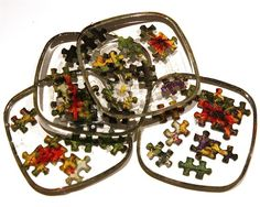 Jigsaw Puzzle Resin Coasters - Set of 4