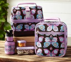 Mackenzie Lavender Butterfly Lunch Bags | Pottery Barn Kids