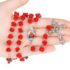 CREATEME™ Rose Garden Catholic Rosary in Red or Pink - Unique and colorful personalized rosary gift Catholic Cross Necklace, Rosary Necklace, Rosary Catholic, Rosary Beads, Verona, Beautiful Red Roses, Sacred Heart, Clay Beads, No Name