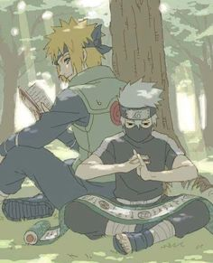 Uzumaki Minato, Hatake Kakashi, sitting, reading, training, studying, cute; Naruto