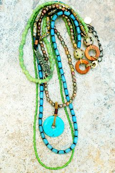 Multi-Strand Long Turquoise, Green and Brass Pendant Necklace | XO Gallery