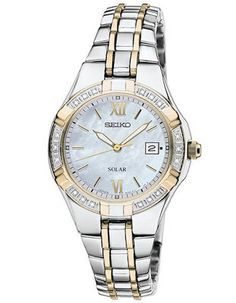 Seiko Solar Diamond Ladies Watch - MOP Dial - Stainless Steel with Gold-Tone