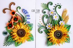 quilling, flowers, sunflower, Cris Tan