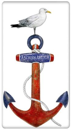 Nautical Boat Anchor and Seagull 100% Cotton Flour Sack Dish Towel Tea Towel