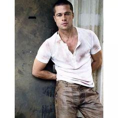 Brad Pitt wearing leather pants