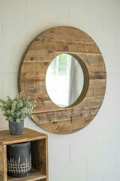 The Kalalou Round Recycled Wood Mirror is a simple but elegant mirror for your wall. The combination of the mirror with wood always goes very well and can never go wrong. The round shape given to the Pallet Mirror, Wood Framed Mirror, Diy Mirror, Palette Furniture, Copper Mirror, Rustic Mirrors, Round Mirrors, Round Wood Mirror, Recycled Wood