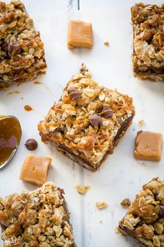 Oatmeal Carmelitas are soft & chewy with the best combination of gooey caramel and chocolate!
