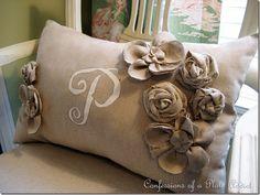 burlap pillow and handmade flowers