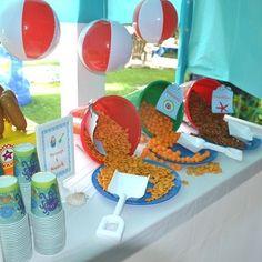 Beach theme for reception for when we return home! Cute idea