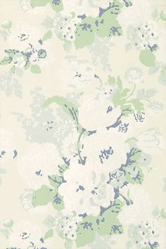 Bouquet - Cream and Green wallpaper, from the Wild Flora collection by Anna French Green Wallpaper, Fabric Wallpaper, Textures Patterns, Print Patterns, Anna French Wallpaper, Textiles, Paper Background, Designer Wallpaper, French Vintage