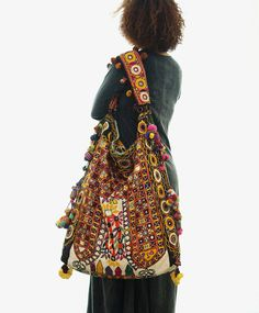 Oversize Yellow Hippie Boho Bag One of a Kind Vivid Tribal Vintage Recycle Textile Handmade by Bohoscent 00064