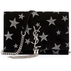 Kate Monogram Tassel Star Chain Wallet (54,615 DOP) ❤ liked on Polyvore featuring bags, wallets, glitter wallet, chain bags, chain strap bags, monogram wallet and glitter bag