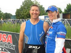 Hypercat Matt Jacobson (Cumberland, ME) & Coach Rachel at the USA Triathlon Age Group National Championship in Milwaukee, WI. August 2014.