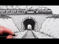 How to Draw using Perspective: Train Track and Tunnel Perspective Drawing One Point, Perspective Art, Train Sketch, Les Scouts, Landscape Pencil Drawings, Train Drawing, Drawing Course, Train Art, Drawing For Beginners