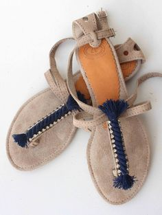 Leather Sandals with Nautical Rope and by lizaslittlethings, $68.00