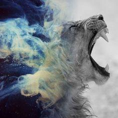Lion roar smoke