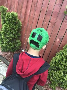 Mine Craft hairstyles for boys on crazy hair day! #creeper