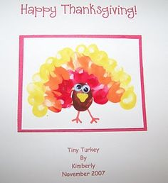 Tiny Turkeys - finger printed - - Re-pinned by @PediaStaff – Please Visit http://ht.ly/63sNt for all our pediatric therapy pins