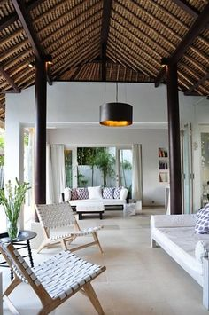 River Moon Villa (Vacation Rental in Ubud, Bali, Indonesia. 2 bed 2 bath, From… Balinese Interior, Balinese Decor, Rest House, Beach Cottage Style, Beach House, Thatched Roof, Tropical Houses, Outdoor Spaces, Outdoor Living