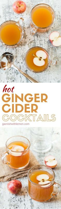 Add this recipe for Hot Ginger Cider Cocktails to your next party menu for a delicious self-serve cocktail. A slow cooker is a great way to keep them warm during the party.