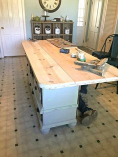 How to Make a Perfect Size & Height Kitchen Island DIY - Kitchen Pantry Cabinets Dresser Kitchen Island, Kitchen Island Makeover, Farmhouse Kitchen Island, Kitchen Island Decor, Kitchen Pantry Cabinets, Kitchen Islands, Kitchen Ideas, Kitchen Sink, Kitchen Island Height