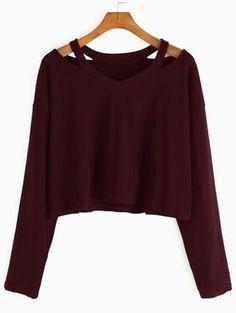 T-Shirt Scollo Tagliato - Borgogna