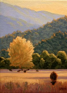 Southern Oregon Landscape painting, scenic meadows, afternoon light, cattle grazing, original oil painting http://terrysauve.com